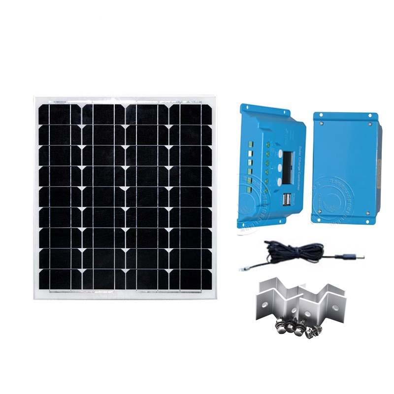 12v 50w panneau solaire Set monocristallin contrôleur de Charge solaire 12 v/24 v 10A LCD Z support DC câble voiture caravane Camping Rv lumière