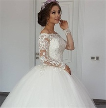 2020 Elegant Ball Gown Illusion Off the Shoulder Wedding Dresses vestidos de novia Long Sleeve Appliqued Tulle Bride Dress