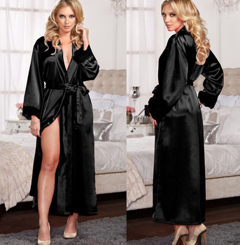 Local stock Women Sexy Lingerie Silk Lace Robe 1
