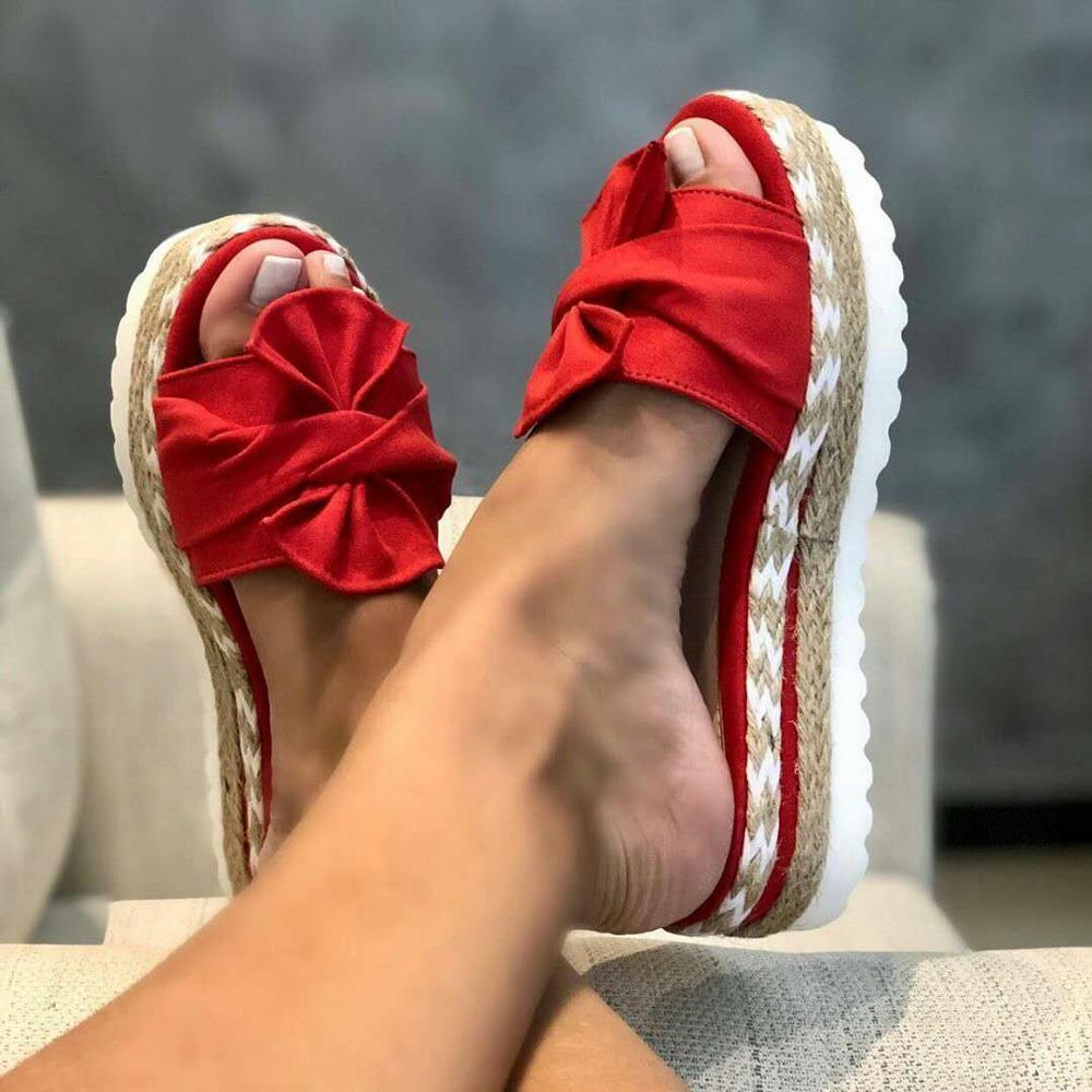 Slippers Women Slides Summer Bow Summer Sandals Bow-Knot Slippers With Thick Soles Platform  Female Floral Beach Shoes