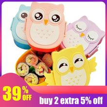 900ml Cute Owl Students Lunch Box With Spoon Kids Bento Box Food Container with compartments Dinnerware Case Storage Box(China)