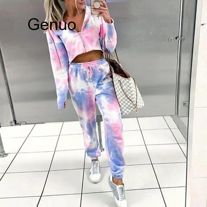 Spring Printing Tie-Dye Two Pieces Set Sweatsuit Women Sets Zipper Hoodies Crop Tops Drawstring Pants Outfit Tracksuits Woman