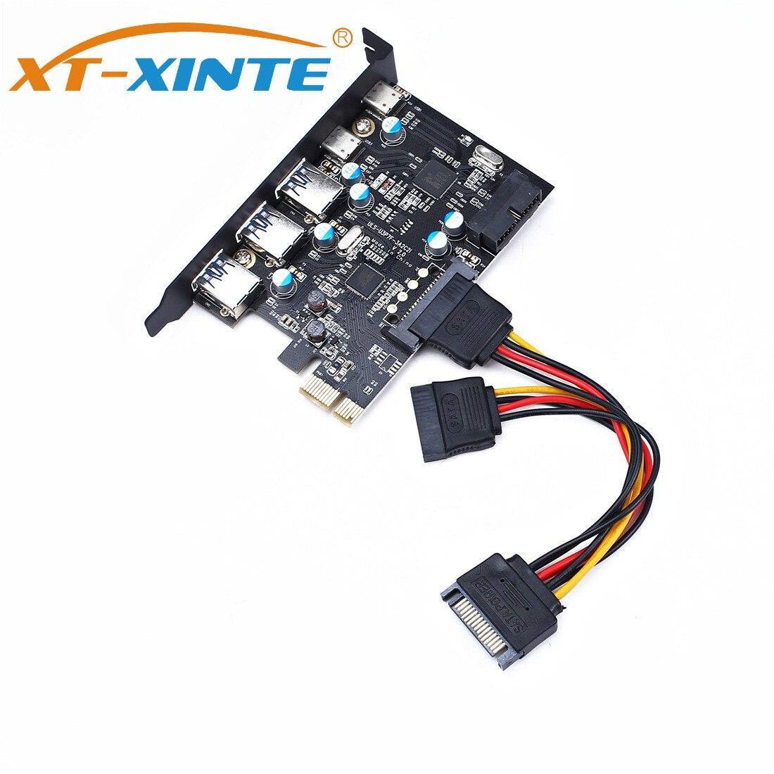 XT-XINTE USB 3.0 PCI-E Type C Expansion Card PCI Express Controller Adapter 3x UBS3.0 + 2x USB 3.1 + 4Pin Power 15Pin SATA