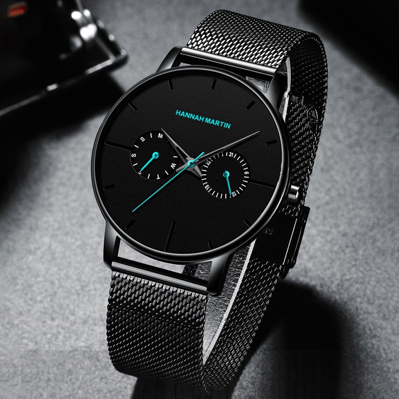Hannah Martin Men Watches Multifunction Small Dial Stainless Steel Mesh Style Waterproof Wristwatches