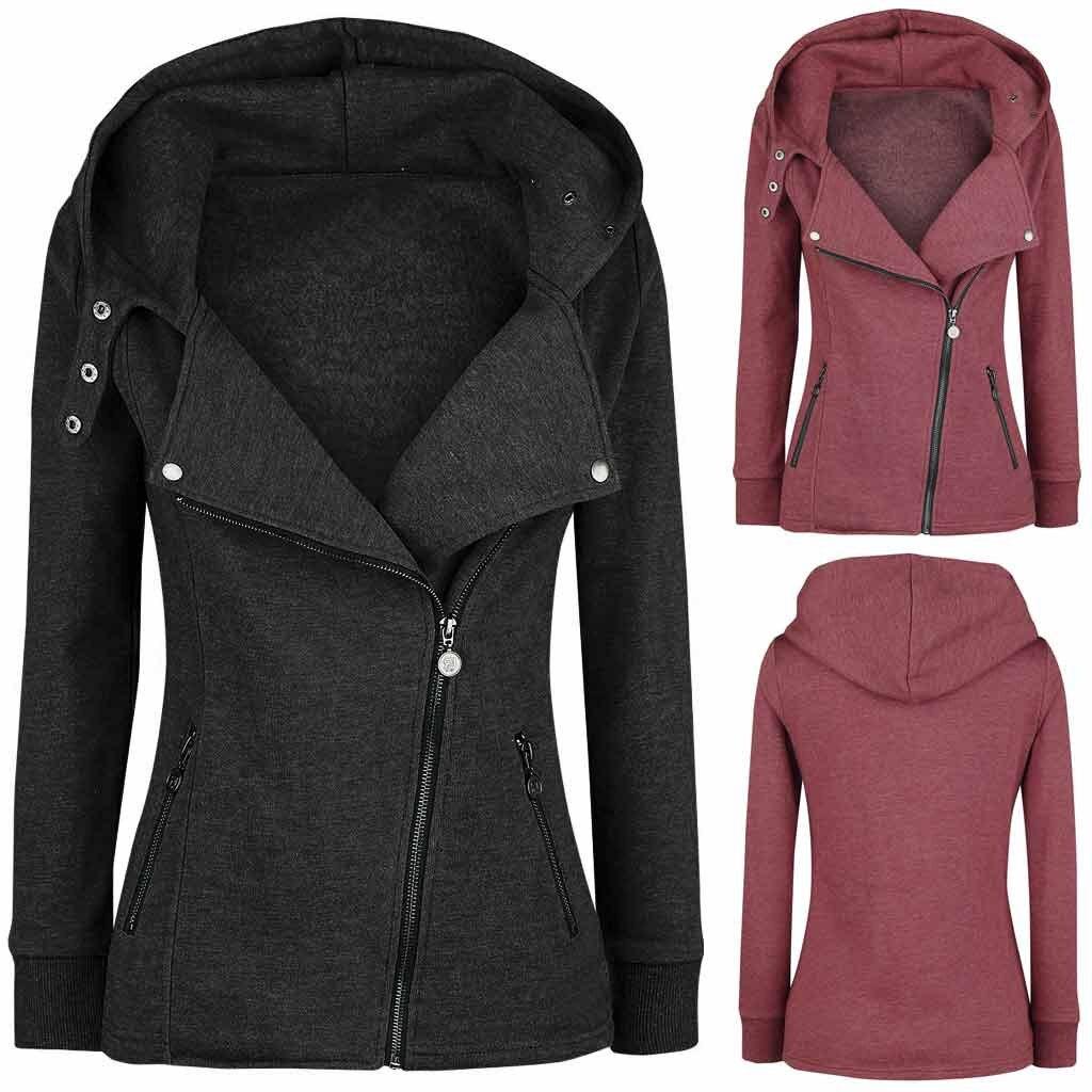 Warm Cotton Hoodie Jacket Pockets Casual Ladies Fleece Coats Jacket Coat Female Winter Long Sleeve Streetwear Womens Outerwear