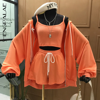 SHENGPALAE 2020 New Summer Fashion Casual Zipper Solid Long Sleeve Lace Up Hooded Sweater Coat Slim Three Piece Suit Women SB782
