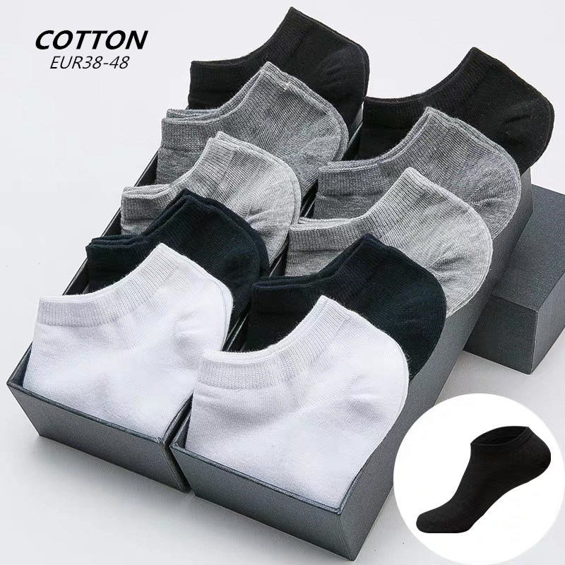 5 Pairs /Man's Socks Cotton Large Size 38-48 High Quality Casual Breathable Boat Socks  Invisible Low Business Cotton Boat Socks