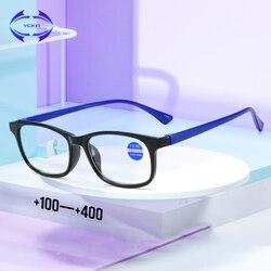 VCKA TR90 Ultralight Anti Blue-Ray Reading Glasses Square Anti Blue Light Presbyopic Hyperopia Eyewear Readers +1.0 to +4.0