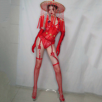 New Chinese Style Red Lace Sexy Bodysuit Stage Costume Fringed Hat Festival Outfit Women Pole Dance Clothing Rave Wear DT2140