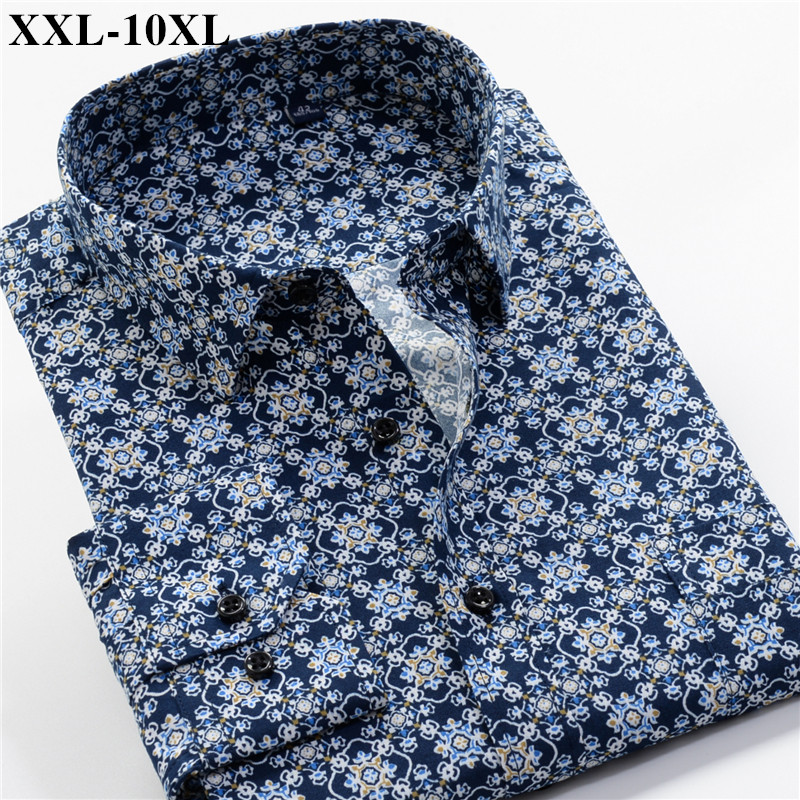 Men's Printed Shirt 2019 Autumn New Fashion Casual Loose Hawaii Long Sleeve Shirts Male Brand Plus Zise 5XL 6XL 7XL 8XL 9XL 10XL