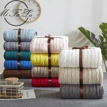 Couverture nordique en coton, plaid doux tricoté, Style torsadé, fait à la main, pour lit, canapé, rose, vert, gris, 33