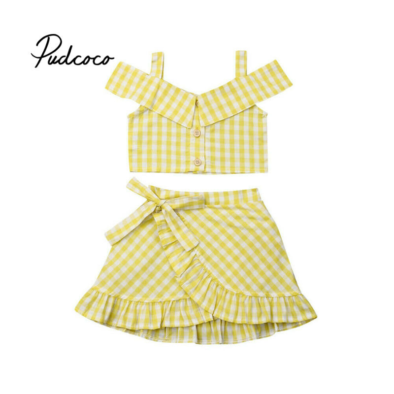 >2Pcs Stylish Kids Baby Girl Clothes Set Pliad Yellow Off Shoulder <font><b>Tank</b></font> <font><b>Tops</b></font> <font><b>High</b></font> Waist Bow Skirt Party Outfits Summer Suit
