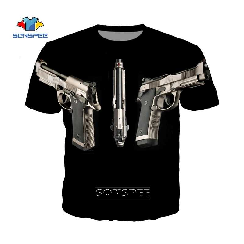 SONSPEE Anime Beretta Pistola del Fucile AK47 T-Shirt Off Bianco Streetwear Mens Tshirt 3D Stampa Manica Corta Militare Tee Shirt Homme