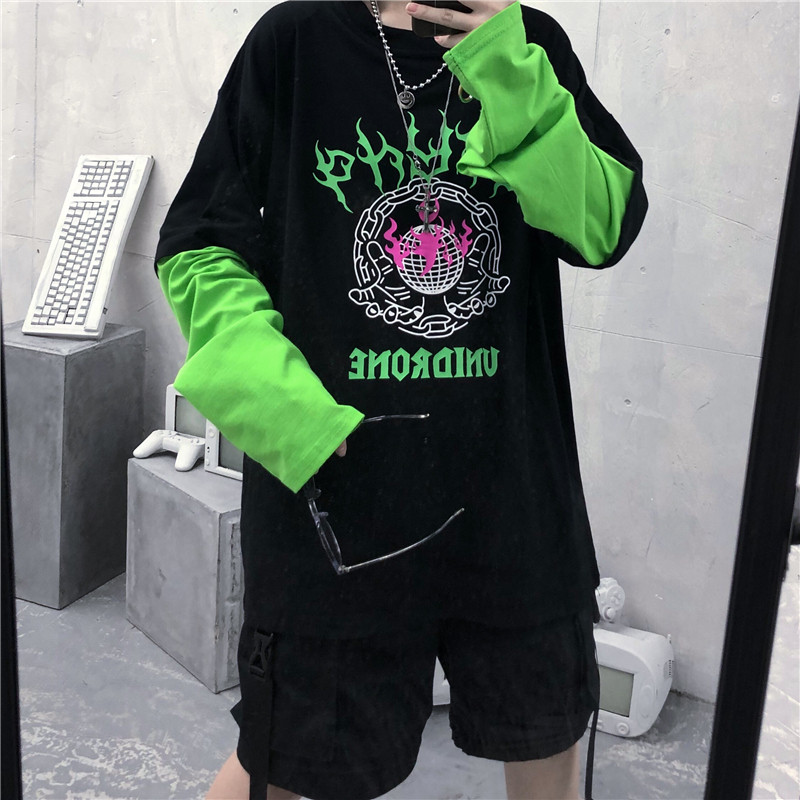 Focal20 Streetwear Fluorescente Green Flame Letter Print Women T Shirt Patchwork Crew Neck Women T-shirt Fake 2 Pieces T-shirts