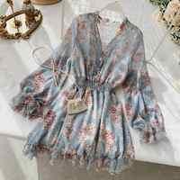 2019 neue mode frauen Französisch kleid weibliche temperament V-ausschnitt Mit langen ärmeln chiffon floral kleider