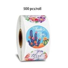 500 шт/рулон цветок животных наклейки Спасибо печать этикетки для детского день подарки, украшение канцелярские