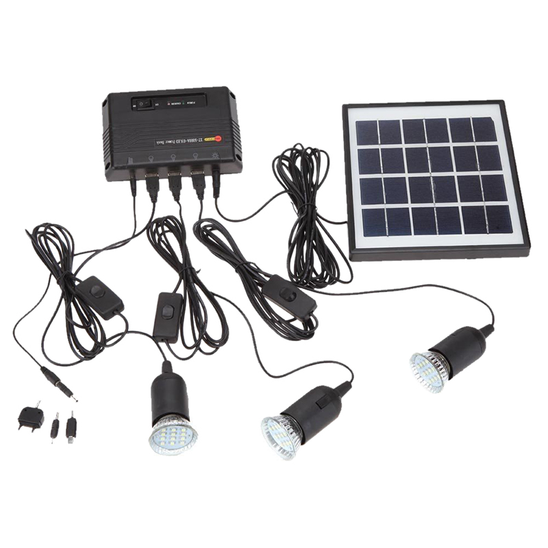 4W Solar Panel 3 LED Lamp USB 5V Mobile Phone Charger System Kit For Home Garden Pathway Stair Outdoor Camping Fishing Black
