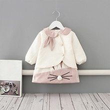 Girl Rabbit Dress and Coat Set