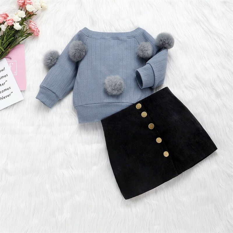 Toddler Kid Baby Girl Winter Outfits Clothes Set Long Sleeve Hairball Knit Pullover Sweater Top Button Skirt Children Clothing