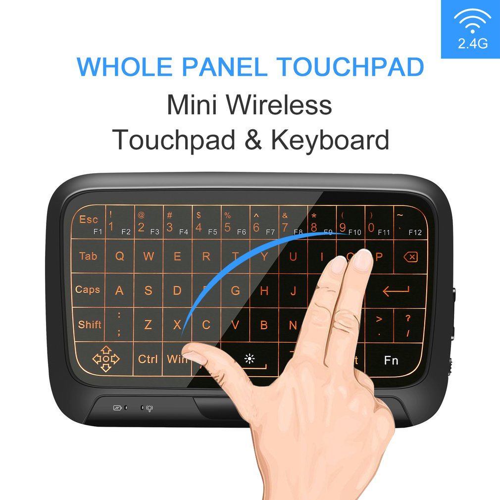 H18+ Mini Wireless Touchpad Keyboard 2.4GHz Full Panel Touchpad Gaming Mouse for Android TV Box PC Laptop Smart TV image