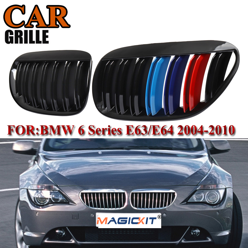 Auto Parts Front Hood Kidney Grille Grill for 2004-2010 B-M-W E63 E64 6-Series M6 Coupe Convertible