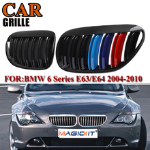 MagicKit Pair Front Bumper Kidney Grill Grille For BMW E63 Coupe E64 Cabrio 2004-10 6 Series M6 650Ci 645Ci Gloss Black M Color car styling glossy black m color front grille grilles for bmw 6 series e63 e64 m6 05 10 convertible coupe auto car styling