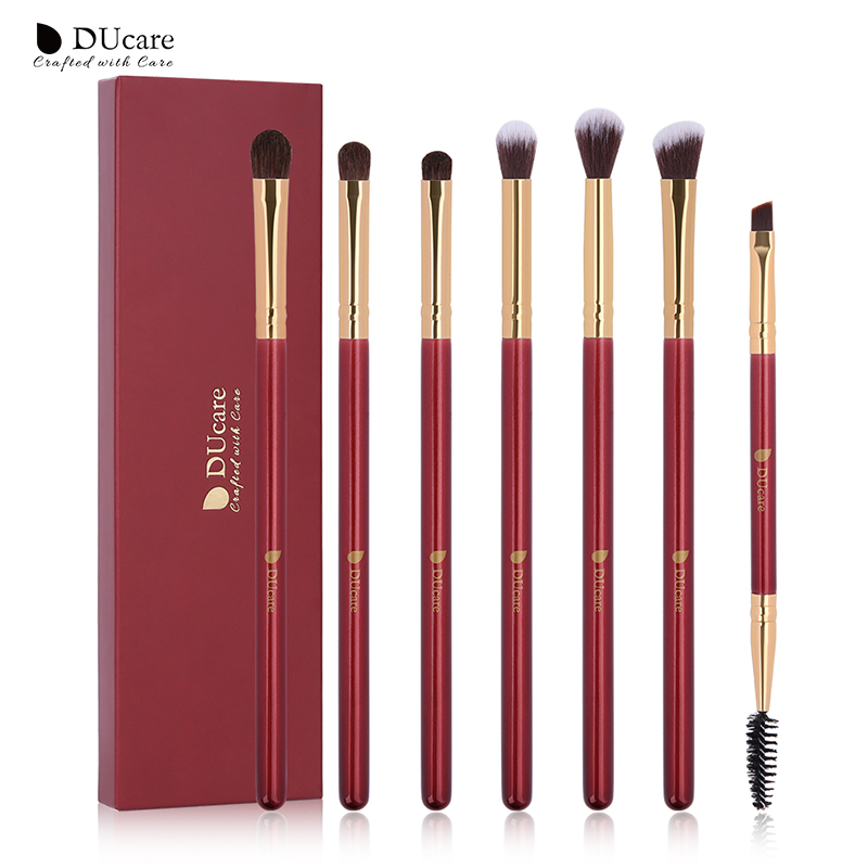DUcare Makeup Brushes 6/7PCS Eye Makeup Brush Set Eyeshadow Blending Eyebrow Brush Natural Hair Cosmetic Tools Kit Essential