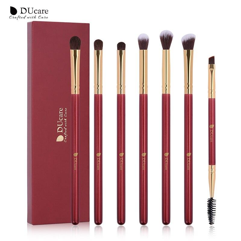 DUcare Makeup Brushes 6/7PCS Eye Makeup Brush Set Eyeshadow Blending Eyebrow Brush Natural Hair Cosmetic Tools Kit Essential
