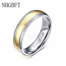 NHGBFT 6mm wide real titanium rings for women men gold color Titanium steel wedding rings jewelry china supplier his and hers gold color titanium wedding band finger rings women