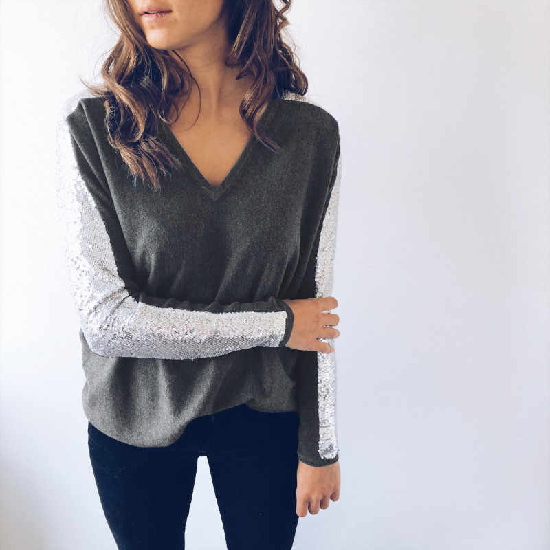 パッチワークデザインシャツ女性長袖 Tシャツファッションスパンコールスタイル V ネックステッチトップ春秋冬カジュアルシャツ