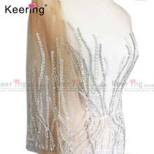 Fashion Evening dress Large Size Hand made Rhinestone Patches  WDP 035