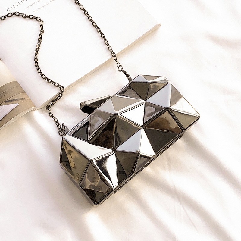 Women Handbag Purse Tote Clutches Geometric Hexagon Silver Party Metal Gold Mini Fashion