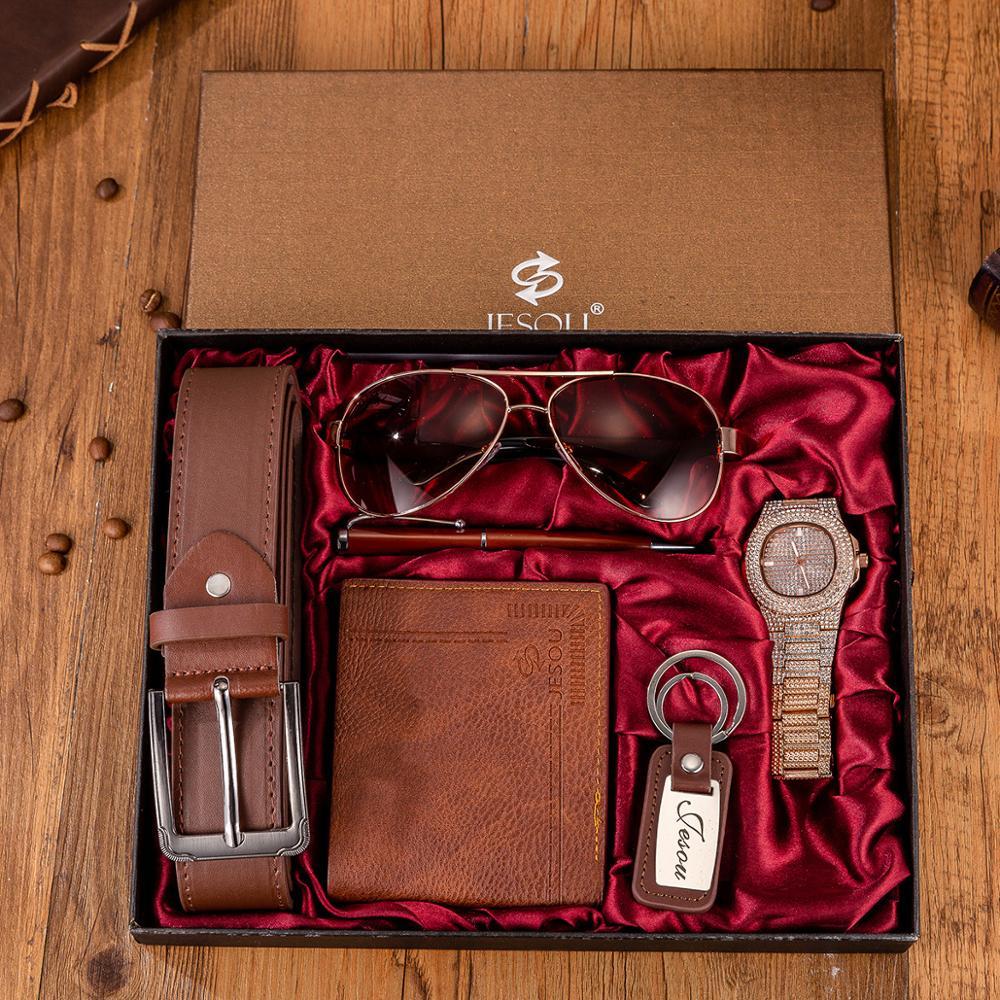 6pes/Set Men's Gift Set Beautifully Packaged Creative Minimalist Combination Watch +Pen +Leather Belt+Glasses +KeyChain Women Gi