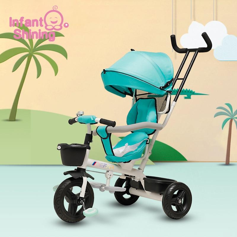 Bébé brillant bébé Tricycle Ride sur jouets 4 en 1 trois roues poussette enfants vélo siège multi-fonction pour 1-6y enfants