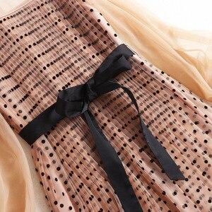 Image 3 - فستان نسائي موضة 2020 من AELESEEN مزود بحزام شفاف وأكمام طويلة مناسبة للربيع والخريف فستان طويل بطيات