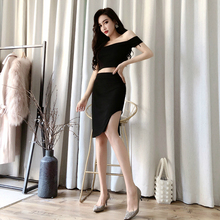 Summer Sexy Party 2 Piece Set for Ladies Slash Neck Leaking Navel Blouse and Split Mini Wrap Club Skirt Female Two Piece Set slash neck leaking navel blouse and split mini wrap club skirt female two piece set summer sexy party 2 piece set for ladies