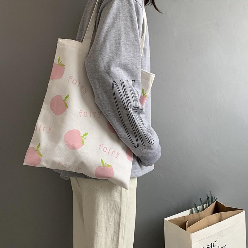 Women Casual Canvas Shopping Bags Art Apple Fairy Cloth Shoulder Bag Girls Students Cotton Tote Bags Female Reusable Eco Shopper