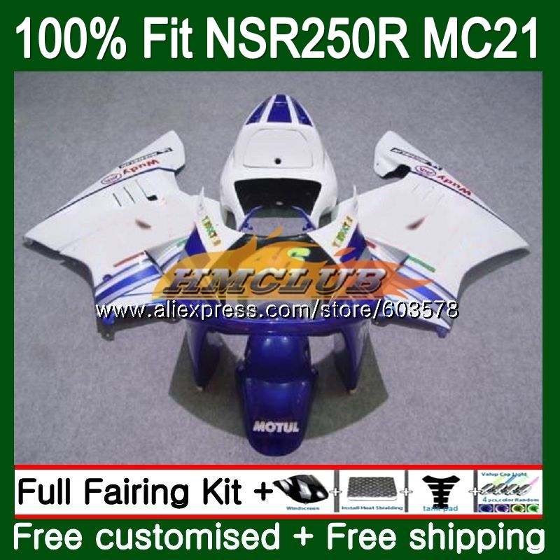 Injection For HONDA NSR250R MC21 PGM3 1990 1991 1992 1993 101CL.37 <font><b>NSR</b></font> <font><b>250</b></font> R NSR250 RR <font><b>NSR</b></font> 250R 90 91 92 93 Fairing White Blue image