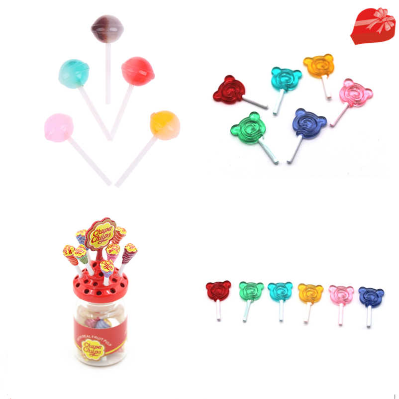 1:12 Miniature Food Dessert Sugar Mini Lollipops With Case Holder Candy For Doll House 1/12 Kitchen Furniture Toys Accessories