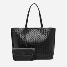 2020 new women summer PU leather tote bag ladies with small pouch weave handbag