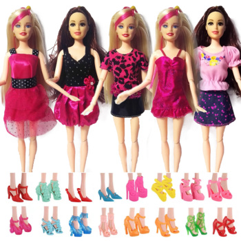 12 Pcs = Handmade Party 5  sets Clothes Fashion Mixed style Dress + 7 Pair Accessories Shoes for Barbie Doll Best Gift Girl Toys accessories new 11 5 12 doll clothes long tail evening party wedding party lace dress gift present for barbie outfit costumes