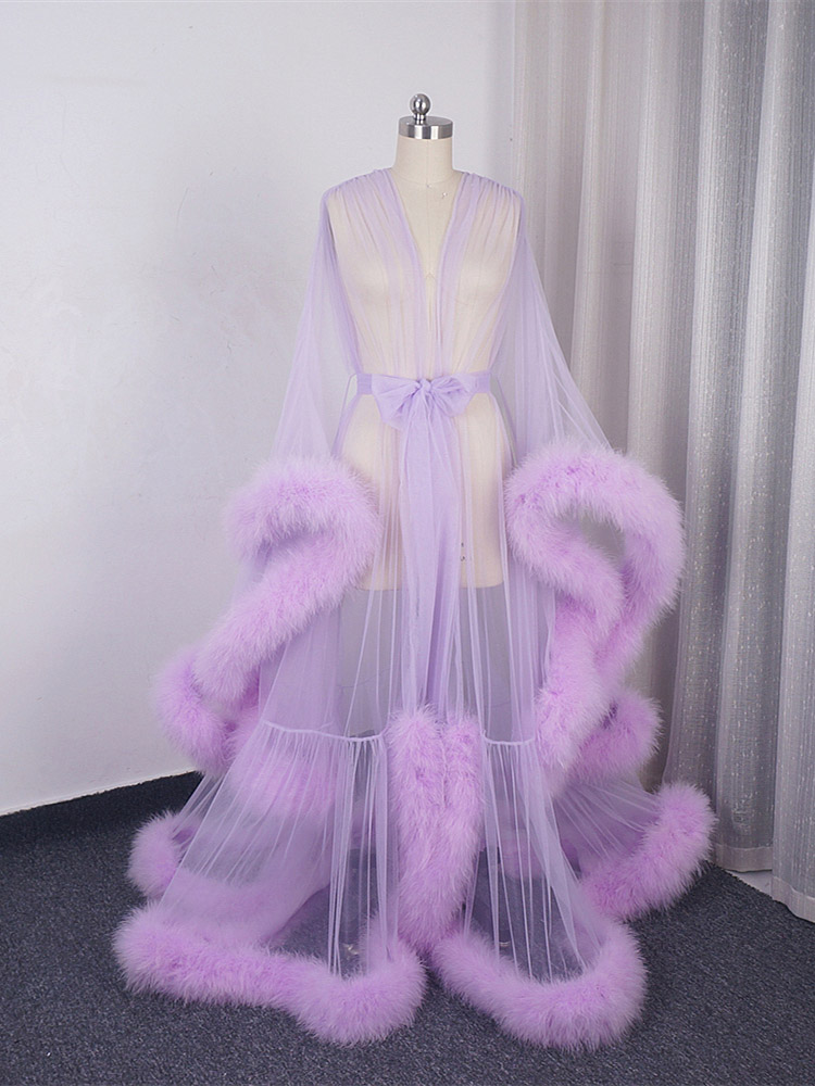 Marabou Robe Extra Puffy Feather Robe Long Tulle Illusion Sheer Fur Robe