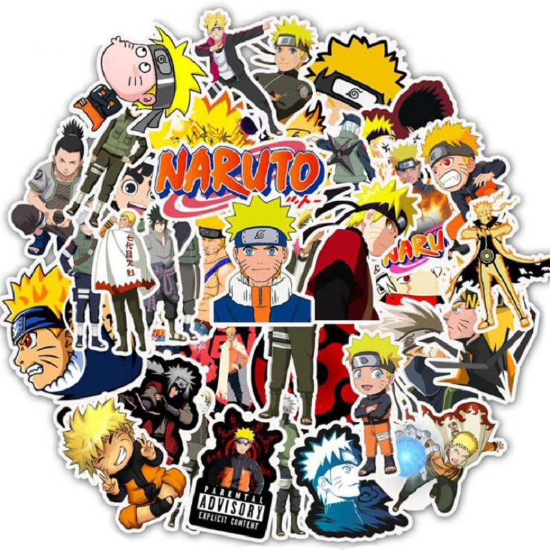 50PCS  Anime Naruto Sasuke Cartoon Stickers For Electric Car Luggage Trolley Case Suitcase Computer Waterproof Decal Stickers