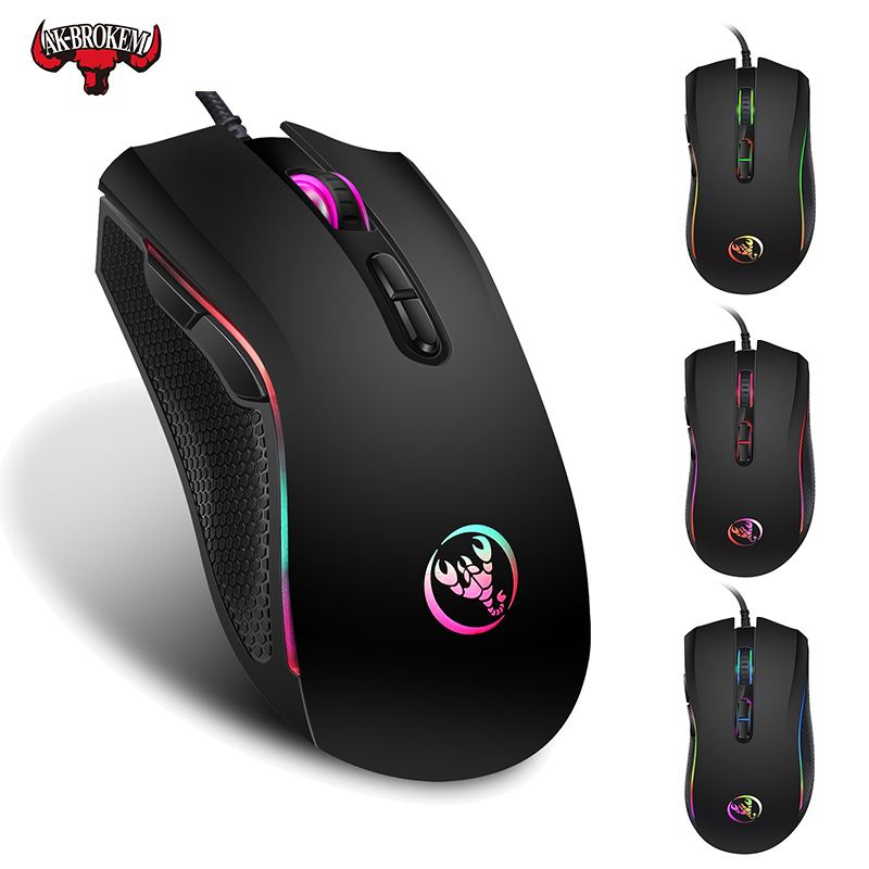 Wired Gaming Maus 7200DPI programm makro definition Professionelle-Grade Gamer Mäuse <font><b>RGB</b></font> Verdrahtete Maus Optische für Laptop Computer image