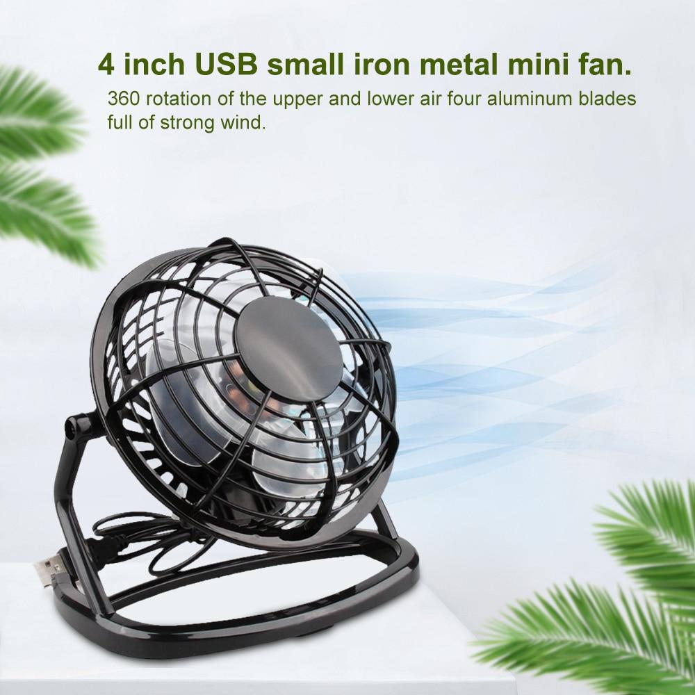 Mini USB Portable Powered Desktop Cooling Desk Fan Computer Laptop Metal 4 inch