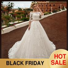 אופנה להסרה 2 ב 1 חתונה שמלת BECHOYER N239 אפליקציות תחרה אונליין נסיכת קריסטל חגורת כלה שמלת Vestido דה Noiva