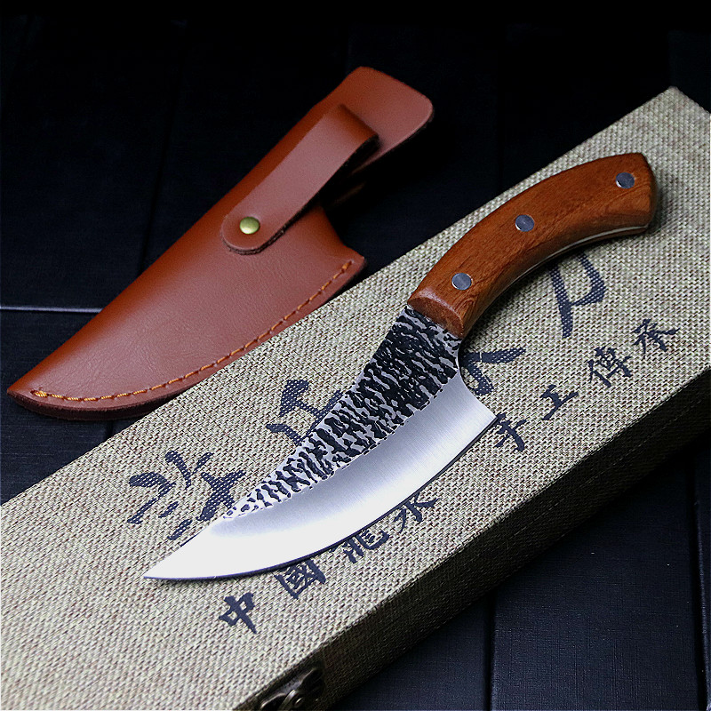 24.5cm hand forged by chef Tang, sliced kitchen knife, high carbon steel outdoor knife, butcher's knife + Leather Case 2