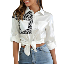 цены на Sexy Women white shirts V Neck Leopard Blocking Long Sleeve Button Down Shirt Blouse  Casual Female Shirts S-XL  в интернет-магазинах