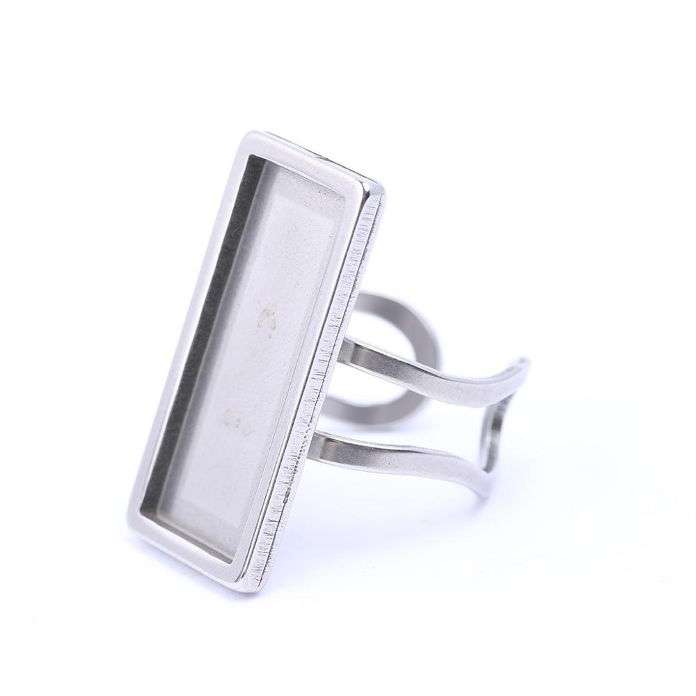 2 шт. параметры заготовки кольца пустой Нержавеющаясталь подходит 10x25 мм Прямоугольник кабошоны базовые обрамление для поделок и поставок ...