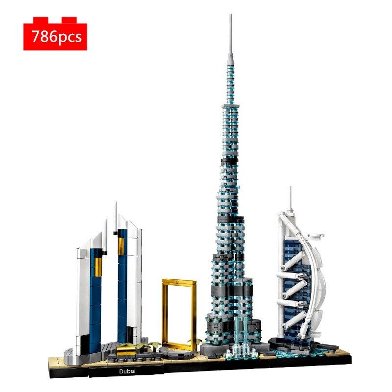 Набор строительных блоков, всемирно известная архитектура, коллекция Skyline, Дубай, Классическая модель, детские игрушки, подарки для детей